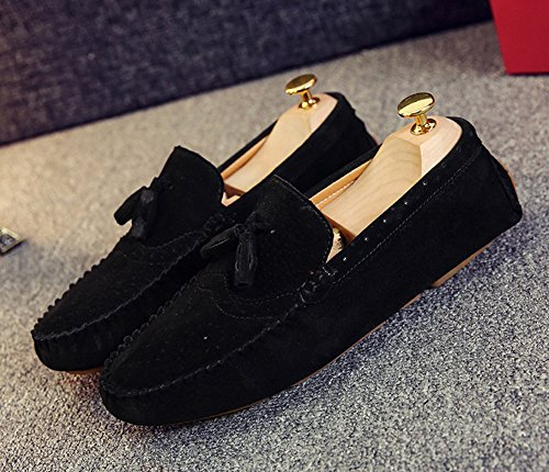 Aisun Homme Mode Frange Chaussure Bateau Plat Mocassins Noir