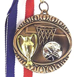 Baloncesto bronce en relieve 45 mm Medal x5 Qty