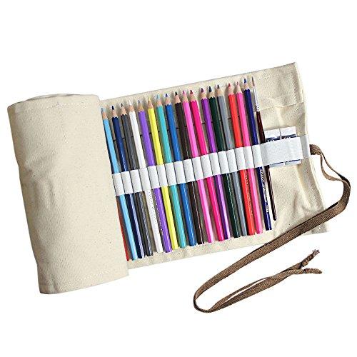Taotree Stifterolle für 72 Buntstifte und Bleistifte, aus Canvas, Stifteetui Roll-up für Künstler, Mehrzwecktasche für Reisen / Schule / Büro / Kunst (Anmerkung: ohne Farbstifte) (Beige)