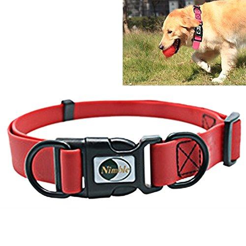 Happy-L Heimtierbedarf, PVC-Material Wilde Hunde Einstellbare wasserdichte Dual Loop Pet Dogs Halsband, Größe: L, Halsbandgröße: 39-63 cm (Farbe : Rot) (So So Happy Hoodie)
