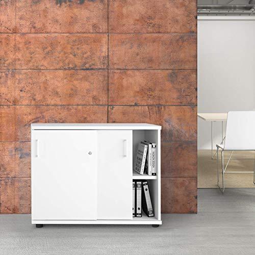 Uni Schiebetürenschrank 1 Meter breit abschließbar 2OH Weiß Schrank Büroschrank -