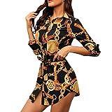 SANNYSIS Damen Langarm Hemdkleid V-Ausschnitt Elegant Kurz Blusenkleid Sexy Shirt Kleid Oberteil Kleid Bodycon Minikleid mit Gürtel Boho Drucken Sommerkleid Kleider (XXL, Schwarz)