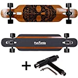 FunTomia® Longboard Skateboard Drop Through Cruiser Komplettboard mit Mach1® ABEC-11 High Speed Kugellager T-Tool mit und ohne LED Rollen (Modell Freerider Bambus - Farbe Mexican Skull)