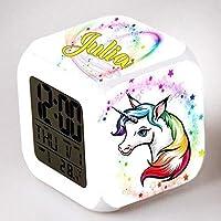 Reveil cube led lumière nuit alarm clock licorne unicorn personnalisé prénom réf 25