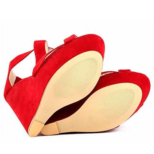 Oasap Femme Chaussure A Talons Hauts Talons Compensés Bout Ouvert Plate-forme Rouge