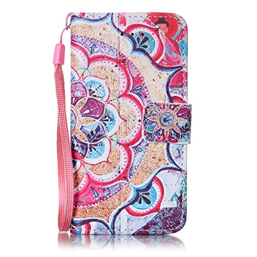 iPhone 5S Hülle, iPhone SE Hülle, Gift_Source [ Eule ] Stand Hülle Etui with Karte Halterung Leder Wallet Klapphülle Flip Book Case TPU Cover Bumper Tasche Ultra Slim für iPhone SE/5/5s E1-Halbe Blume