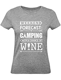 Green Turtle T-Shirts Camiseta para Mujer - Weekend Forecast Camping with Wine - Regalo