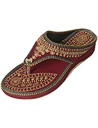 Women's Red Velvet Flip Flop Slippers, Size : 5