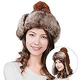 Damen Kunstfell Wintermütze Fellmütze mit Ohrenschutz Trappermütze mit bommel Bruan FancetHat