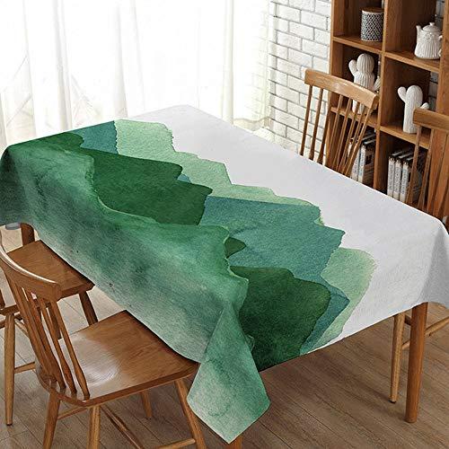 WANGXL Baumwollleinen-Tischdecke, einfach, quadratische oder rechteckige Tischdecke, Hitze und Antifalten dekorative Tischdecke zu säubern,Green-110 * 140cm/43.5