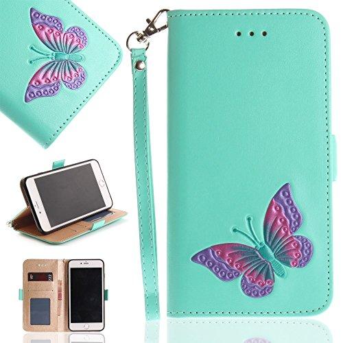 Tasche Hüllen Schutzhülle - case cover echtes Leder en PU Von Hand bemalt Butterfly cyan für Apple iPhone 8 Plus,iPhone 7 Plus (Hand Apple Von Bemalt)