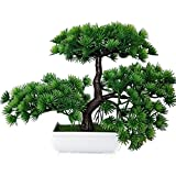 Home decoration-Artificial Bonsai Plant flower 2018 Künstlicher Bonsai Zeder im Töpfchen (mehrfarbig), ca. 20 cm - hochwertiger Kunstbonsai/kleiner Kunstbaum, 28