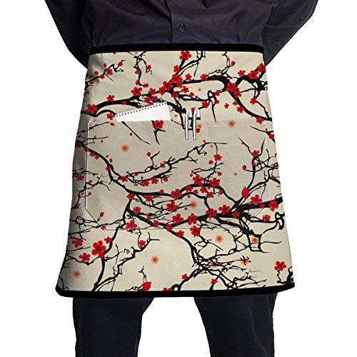 MSGDF Japanese Cherry Blossom Waist Apron Server Apron with Pockets Commercial Restaurant Waitress Waiter Waterproof Kitchen Apron for Men Women Half Bistro Aprons (Cherry Blossom, Doll)