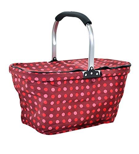 Dexinx Boîte à lunch Isolée Pliante Famille Panier de Pliable Carry-bag Vin Rouge 50*28*26cm