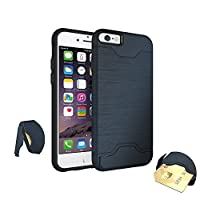 STEELEMENT iPhone 7 8 Wallet Case Protective Credit Card Grip Cover Wallet Slayer Slim Dual Layer Armor Card Slot Holder (blue)