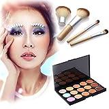Domybest 15couleurs Concealer Cosmétique Palette de maquillage + 4pcs Poignée en bambou Brosse kit