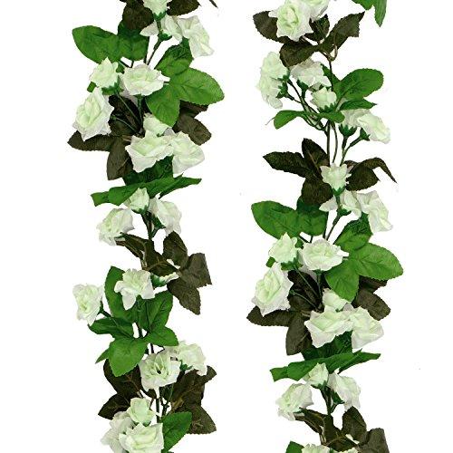 U'Artlines 2 Stück(7Ft Jeder Strand) Künstliche Blume Hängende Rose Blume Ivy Garland Künstliche Seide Rose Garland Home Hochzeit Garten Dekorationen (2 Stück, Weiß)