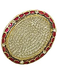 Garvish Fashion Golden & Red Color Saree Brooch For Women