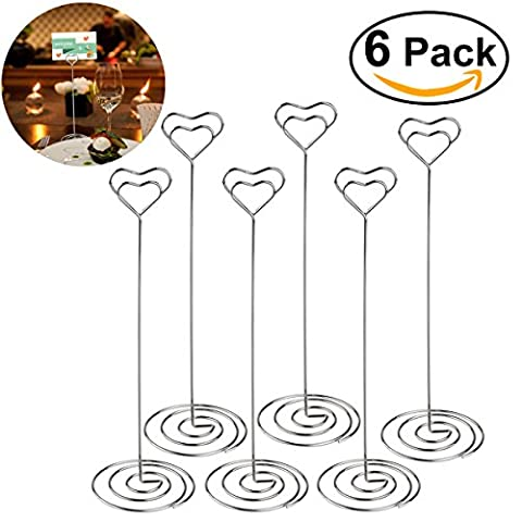 ULTNICE 6pcs Heart Swirl Table Number Photo Holder Stands for