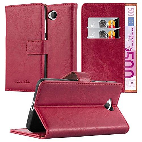 Cadorabo Hülle für Nokia Lumia 650 - Hülle in Wein ROT - Handyhülle im Luxury Design mit Kartenfach & Standfunktion - Case Cover Schutzhülle Etui Tasche Book