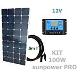 Kit 100W SUNPOWER PRO 12V panel solar