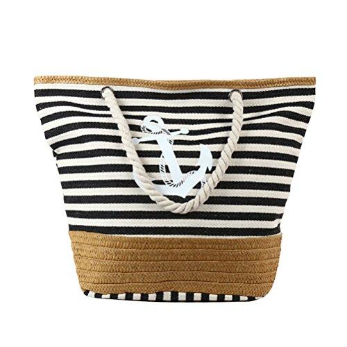 (Fieans Damen Leinwand Schultertasche Große Handtasche Strandtasche Tragetasche Umhängetasche für Urlaub Picknick Shopping - Navy Blau, Anker&Streifen)