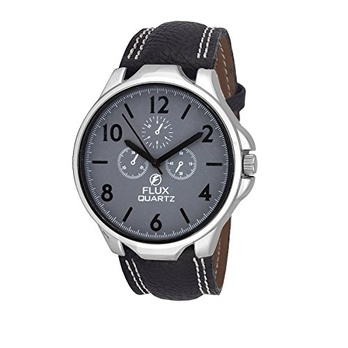 Flux Chronograph Look Analog Black leather Strap Grey Dial Men's Watch-WCH-FLUX282  available at amazon for Rs.299