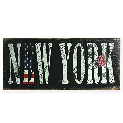 Holzschild Shabby chic New York Vintage Holz Schild ca. 48x20 cm rustikal Holz-Schild #1681