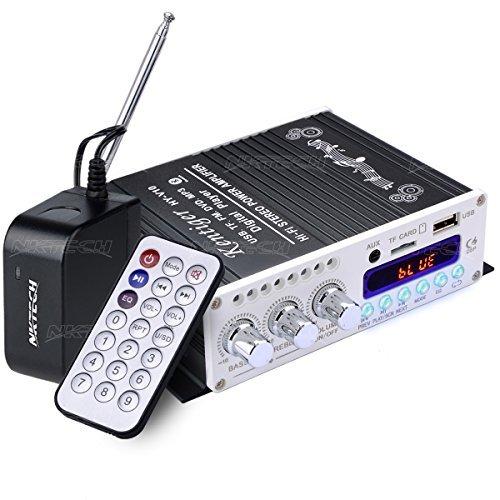 dsp hifi NKTECH 3A Adapter HY-V10 FM/MP3/USB/TF/DVD Audio Lautsprecher Car Bluetooth Digitaler Stereo Verstärker Hi-Fi Bass 2 kanäle DSP 2 x 20W RMS Player Schwarz + Fernbedienung