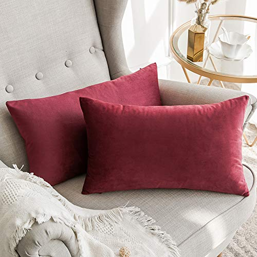 Miulee confezione da 2 federe in velluto copricuscini decorativi fodere quadrate per cuscino per divano camera da letto casa auto 30x50cm vino rosso