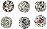 Souarts Mixed Random Antique Silver Solor Snap Button Jewelry Charms 20mm Pack of 6pcs