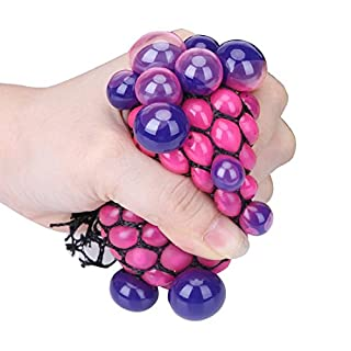 Stress Balls Squishy Mesh Ball Grape,Funny Squeeze Stress Reliever Novelty Toy (Random Color, S)