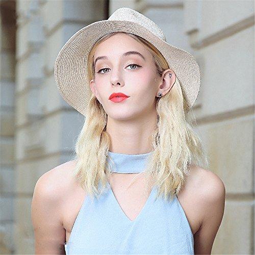 Chapeau De Paille Trilby Jazz Été Femme Filles Soleil gris B