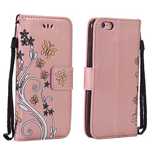 XFAY 435 iPhone 7 plus /7s plus Mit der Hand Seil Handyhülle Case für iPhone7 plus /7s plus Hülle im Bookstyle,XFAY Huelle Stand Halter Magnetverschluss Schmetterling Blumen , PU Leder Flip Wallet Cas Rose