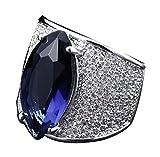 18k Vergoldet Ringe, Damen Versprechen Ringe mit Zirkon Retro Rubby Gr.58(18.5) Blau Epinki