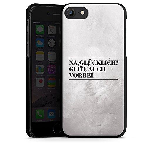 Apple iPhone X Silikon Hülle Case Schutzhülle Sprüche Glücklich Statement Hard Case schwarz