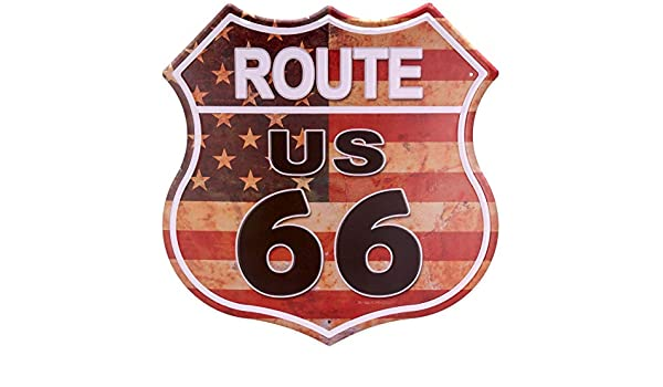 Red MS Route 66 Tin Poster Metal License Plate Home Bar Decor Metal Sign