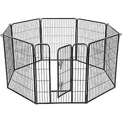 FEANDREA Parc pour Animaux, 8 Panneaux, Enclos pour Chien, 77x100cm, Gris PPK81G