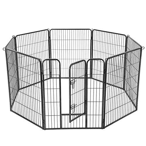 FEANDREA Welpenauslauf Welpenlaufstall Tierlaufstall Freilaufgehege Hundelaufstall Welpenzaun Absperrgitter Zaun Gitter Welpen Hasen Kaninchen 8-Eck grau 77 x 100 cm PPK81G -