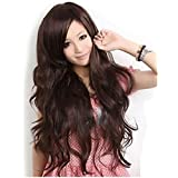 "Super Wigy Hot Wigs For Fashion Girls 25"" Wavy Curly Hair Side Bangs Party Wig 3 Colors (Dark Brown)"