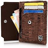 GenTo Kartenetui Boston mit Münzfach - TÜV geprüfter RFID- & NFC Schutz - Geschenk für Damen und Herren - Inklusive Geschenkbox - erhältlich in 2 Farben | Design Germany (Dunkelbraun Kork)