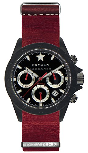 OXYGEN - EX-C-REC-42-NL-RE - Montre Mixte - Quartz - Chronographe - Chronomètre/Aiguilles Luminescentes - Bracelet Cuir Rouge
