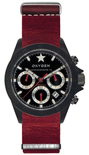 OXYGEN - EX-C-REC-42-NL-RE - Montre Mixte - Quartz - Chronographe - Chronomètre/Aiguilles Luminescentes - Bracelet Cuir Rouge