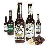 Monsterzeug Schoko Bierflasche, Bierflasche aus Zartbitter-Schokolade, authentisches Etikett, in Klarsichtsfolie, 24 cm
