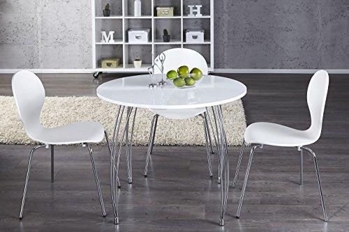 DuNord Design Esstisch Arrondi weiß rund modern B/T/H: 90x90x76 cm