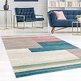 carpet city Teppich Flachflor Inspiration mit Geometrischen Muster, Meliert in Pastellfarben, Blau, Rosa, Mint, Creme, Beige für Wohnzimmer, Größe: 160x230 cm