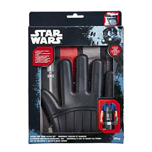 Star Wars Schürze & Ofenhandschuh Geschenk-Set: Ich bin Darth Schürze & Silikon Darth Vader Ofen Handschuh (Single, Schwarz, 2Stück (Star Wars Handschuhe)
