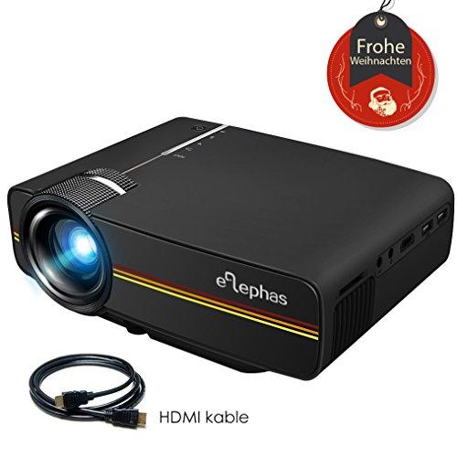 Beamer, ELEPHAS LED Mini Beamer unterstützt 1080P HD 1500 lumen für HDMI / VGA / AV / USB / SD für TV PC Laptop Kopfhörer iphone Filme und Video Spiele, Schwarz