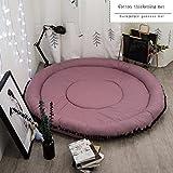 AINUO Runde Fuß/Fußmatten Kinderzimmer Einfarbig Baumwolle Schlafzimmer Klettern Teppiche Rund Wohnzimmer Teppich Zelt Schöne Innen Pad (Color : B)