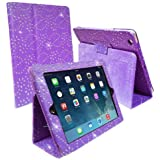 PURPLE DIAMOND BLING SPARKLY CRYSTAL PU LEATHER MAGNETIC FLIP CASE COVER STAND SKIN FOR APPLE IPAD MINI/IPAD MINI 2 BY Connect Zone®